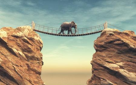 코끼리는 두 개의 바위 사이의 나무 다리를 타고 간다. 이 그림은 3d 렌더링
