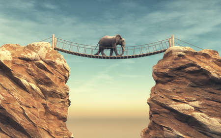 Een olifant gaat op een houten brug tussen twee rotsen. Dit is een 3d render illustratie