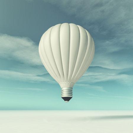 비행 전구의 개념적 이미지입니다. 이 그림은 3d 렌더링