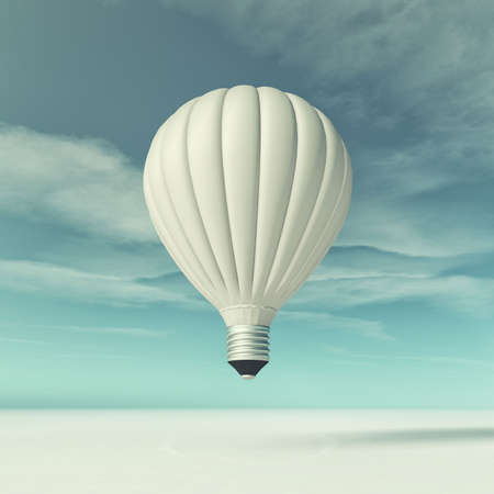 Conceptual image of a flying bulb. This is a 3d render illustration Imagens