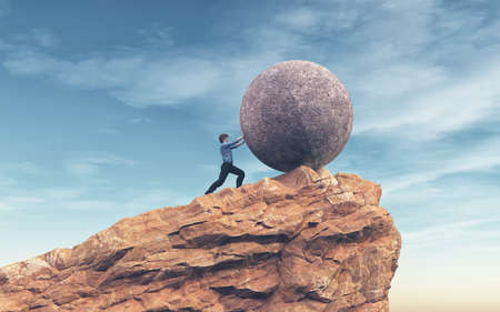 Hombre empujando una piedra grande a la cima de la montaña. Concepto de éxito Esta es una ilustración de render 3d