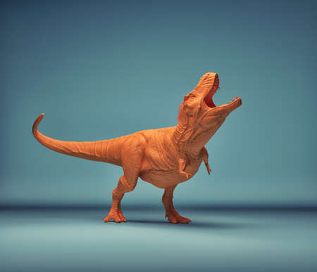 Dinosaur - trex on a blue background. This is a 3d render illustration Stock Photo