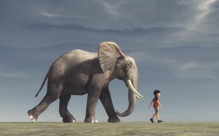 少年に行くと大きな象。これは、3 d レンダリング図です。