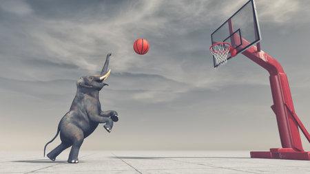 象は、バスケットにボールを投げます。これは、3 d レンダリング図です。