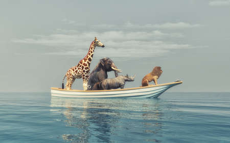 Wild animals - lion, rhino, elephant, giraffe, sitting in a boat by sea.  This is a 3d render illustration