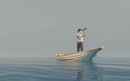 L'homme en regardant à travers une lorgnette dans un bateau à flot de la mer. Ceci est une illustration 3d render Banque d'images - 85044936