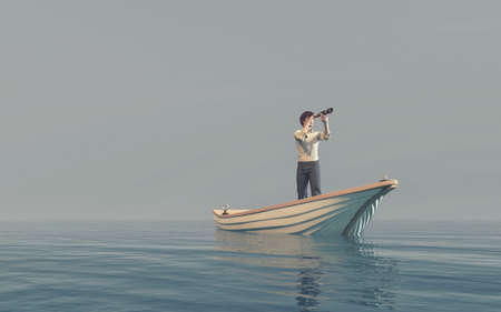 Man watching through a spyglass in a boat afloat the sea. This is a 3d render illustration Reklamní fotografie - 85044936