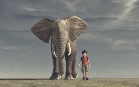 少年に行くと大きな象。これは、3 d レンダリング図です。 写真素材 - 84969756