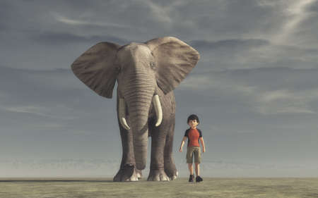 The boy goes and a big elephant. This is a 3d render illustration.