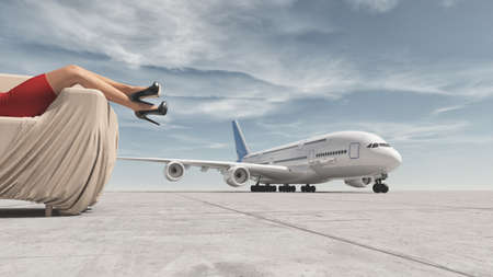 Young woman in red dress relaxes in a sofa and a big airplane. This is a 3d render illustration
