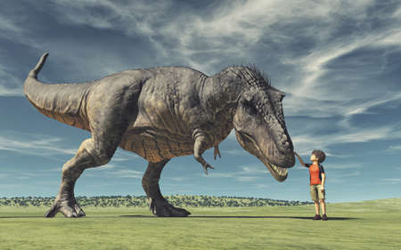 A boy and a big dinosaur. Conceptual image. This is a 3d render illustration.