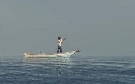 바다에서 보트 망원경을 통해보고하는 남자. 이것은 3d 렌더링 그림