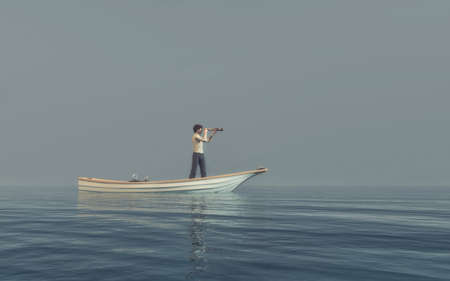 Man watching through a spyglass in a boat afloat the sea. This is a 3d render illustration 版權商用圖片 - 85044932