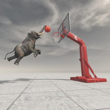 象は、バスケットにボールを投げます。これは、3 d レンダリング図です。 写真素材 - 85044933