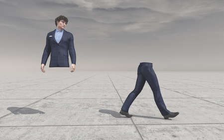 Confused man looking at his legs walking away.  Body splitting in a half . This is a 3d render illustration.