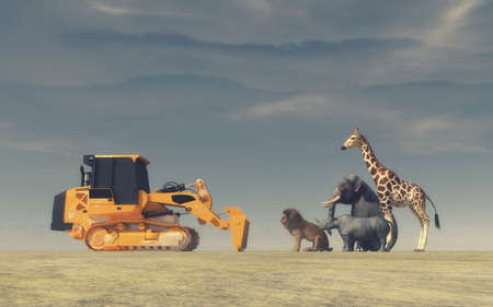 A yellow bulldozer face to face with wild animals (an elephant, a lion, a rhinoceros and a giraffe). Conceptual image. This is a 3d render illustration.