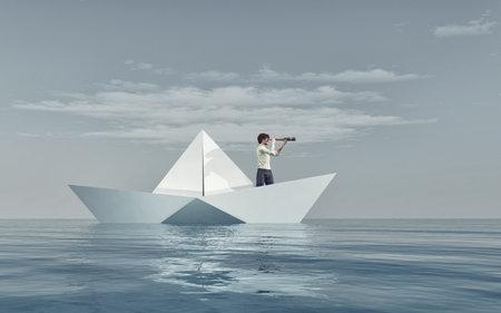 종이 보트에 망원경을 통해보고하는 남자 바다를 떠내려 라. 이 그림은 3d 렌더링