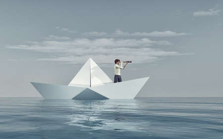 Man watching through a spyglass in a paper boat afloat the sea. This is a 3d render illustration