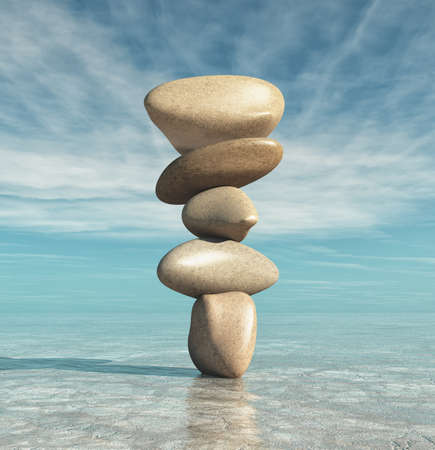 Conceptual of image with meditation stones. This is a 3d render illustration Reklamní fotografie - 85510620