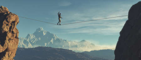 Joven caminando en equilibrio sobre la cuerda sobre las montañas. Esta es una ilustración de render 3d