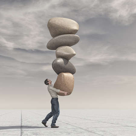Young man up a pile of stones in balance - meditation stones. This is a 3d render illustration Stock Photo