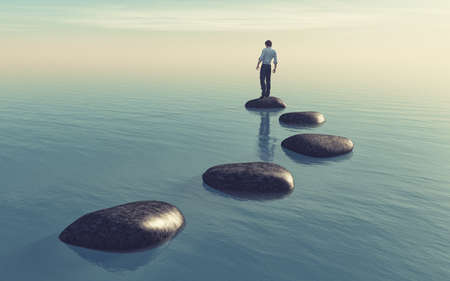 The young man sits on a large stone in the middle of the sea. This is a 3d render illustration Stock Photo