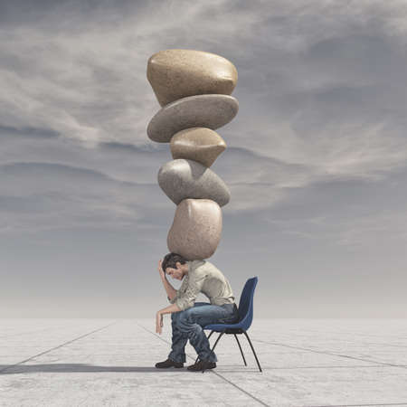 The young man stands in the chair and holds a stack of rocks in equilibrium - meditation stones. This is a 3d render illustration