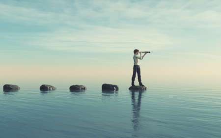 The young man sits on a large stone in the middle of the sea and looks through the binoculars. This is a 3d render illustration Stok Fotoğraf