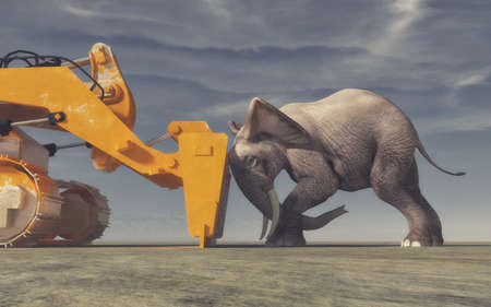 An elephant tries its force with a yellow bulldozer. Conceptual image. This is a 3d render illustration. Stock Photo
