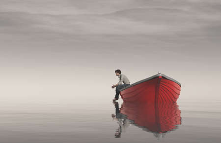 Man sits on the edge of a boats and watch lake. This is a 3d render illustration Stock Photo