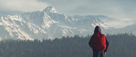 Jeune homme la montagne admire paysage de montagne hiver . ceci est une illustration de rendu 3d Banque d'images - 85893694