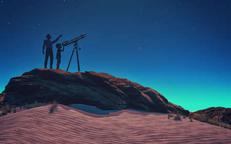 A man showed him a child telescope starry sky. This is a 3d render illustration Stock Photo