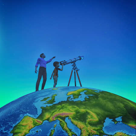 A man showed him a child telescope starry sky on the globe. This is a 3d render illustration Banco de Imagens