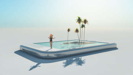 Woman in swimsuit and 3d tropical image coming out of a touch screen.  This is a 3d render illustration Reklamní fotografie - 86124752