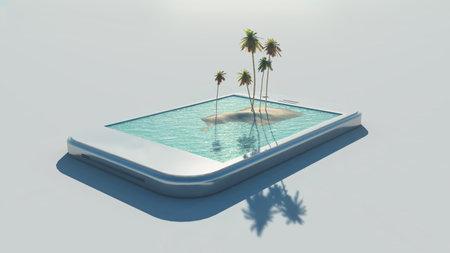 Imagen tropical 3D que sale de una pantalla táctil. Esta es una ilustración de render 3d Foto de archivo