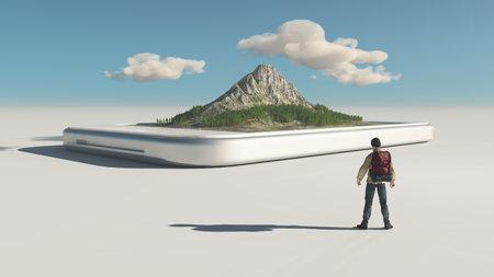 Excursionista y un teléfono inteligente con una montaña 3d en la pantalla táctil. Esta es una ilustración de render 3d Foto de archivo