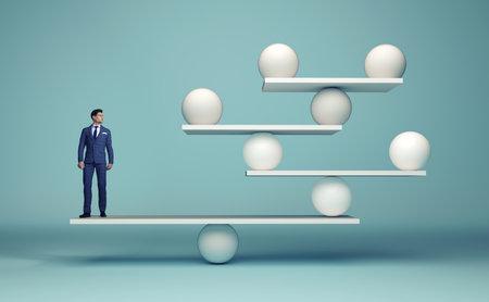 Leadership équilibrant l'équipe - homme d'affaires et sphères en équilibre - concept de stratégie complexe - illustration de rendu 3d Banque d'images