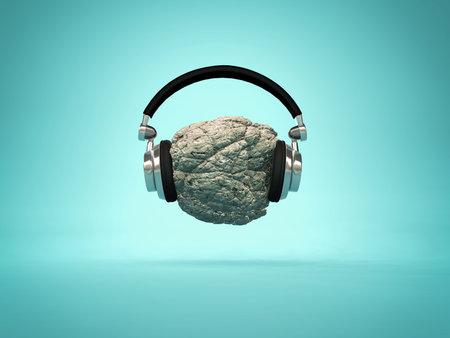 Escuchando música concepto de música - auriculares colocados en una roca 3d ilustración Foto de archivo - 87600941