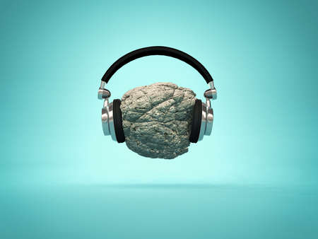 Listening rock music concept - headphones placed on a rock. 3d render illustration