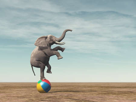 Surreal image of an elefant balancing on a beach ball - 3d render illustration