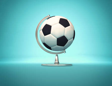 Football world - desk globe with Football ball in place of globe. 3d render illustration Stok Fotoğraf