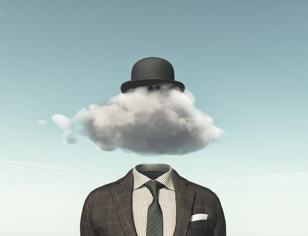 ビジネスの男性の頭に-創造的なアイデアの概念ではなくクラウドと。3 D のレンダリングの図