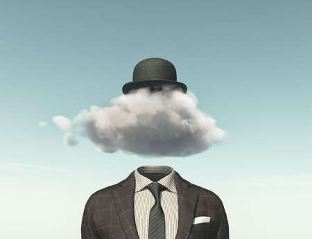 Business man with a cloud instead of head - creative idea concept. 3D render illustration