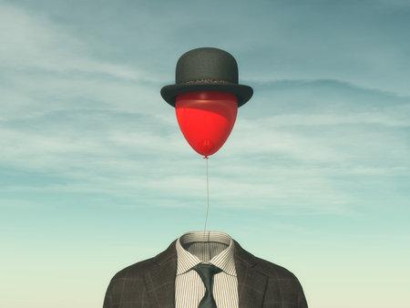 代わりに頭 - 創造的なアイデア コンセプト赤い風船を持つ人します。3 d レンダリング図