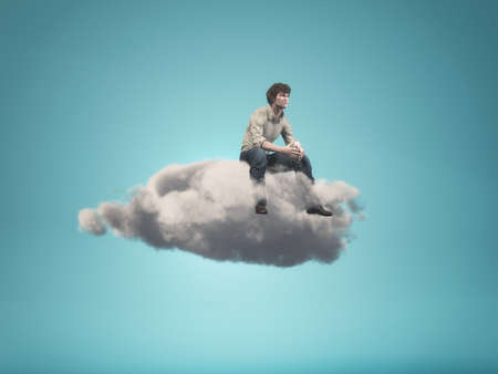 Surreal  image of a man sitting on a gray cloud - 3d render illustration