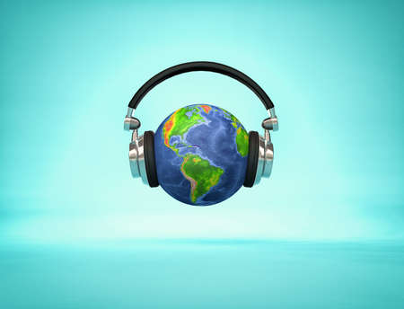 Listening the world - headphone on Earth globe showing American continents. 3d render illustration Archivio Fotografico