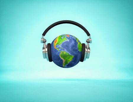 Escuchar el mundo: auriculares en el globo terráqueo que muestra los continentes americanos. Ilustración de renderizado 3D