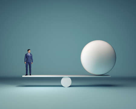 Businessman and a white sphere sitting in balance - 3d render Stock Photo