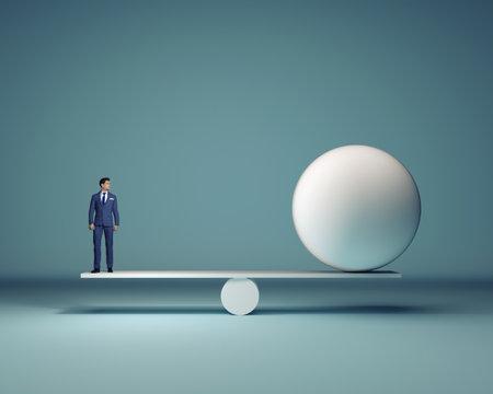 Uomo d & # 39 ; affari e una sfera bianca seduto in equilibrio - rendering 3d
