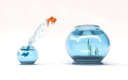 Jumping to the highest level - goldfish jumping in a bigger bowl - aspiration and achievement concept. 3d render illustration Stock Photo